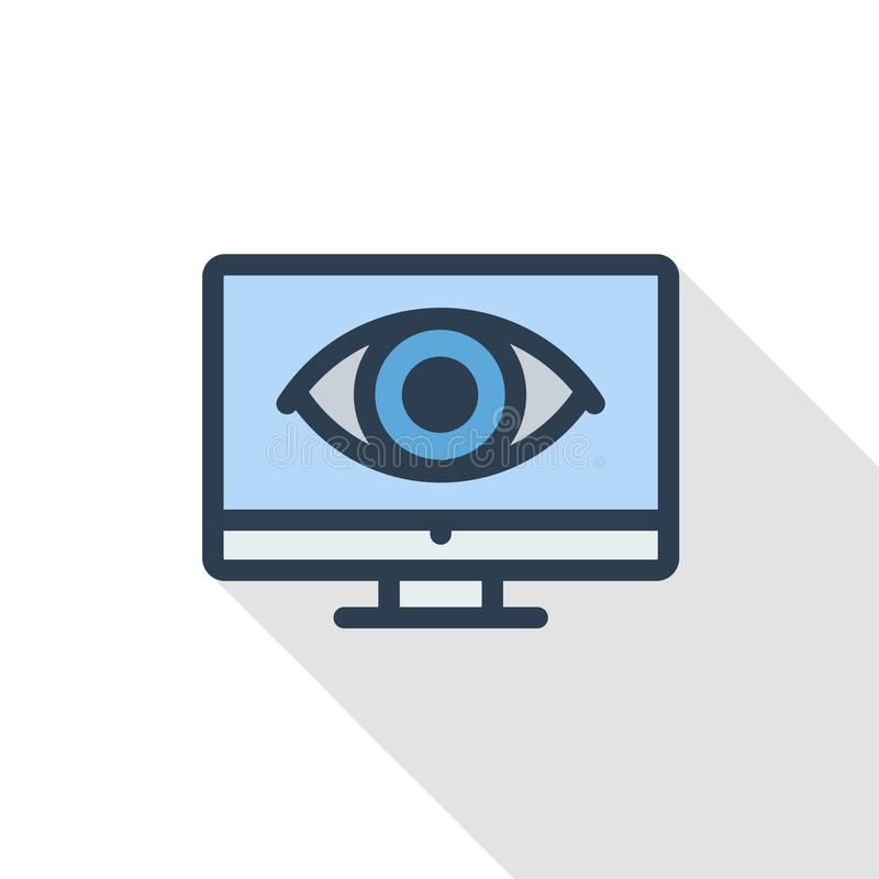 计算机、膝上型计算机、monotor和眼睛图表稀薄的线平的颜色象 线性传染媒介标志 五颜六色的长的阴影设计 皇族释放例证