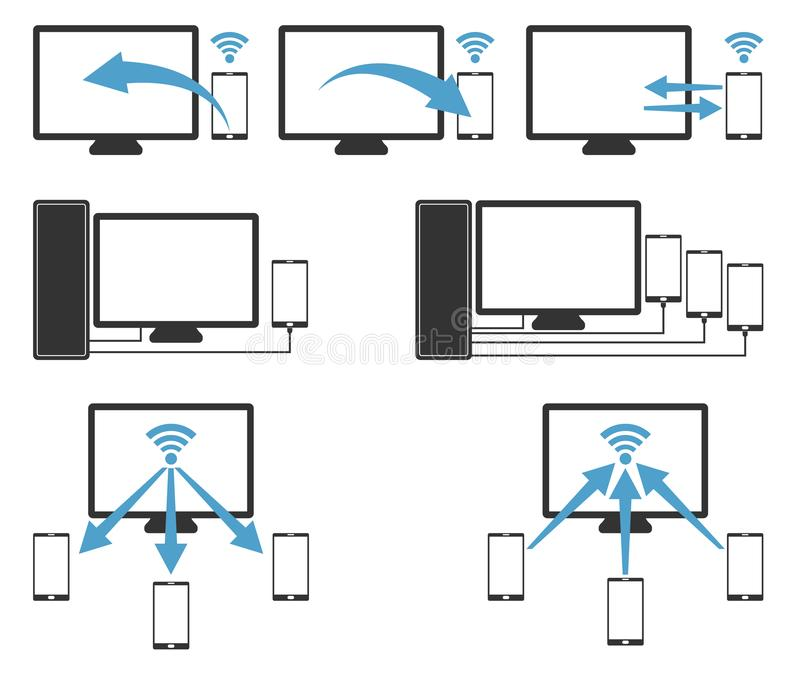 计算机、leptop、笔记本对handphone与无线和缆绳 向量例证
