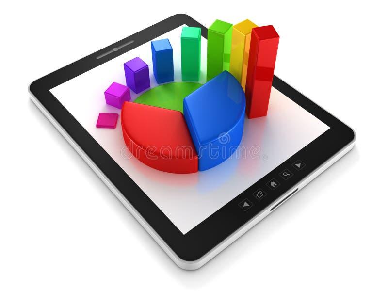 计算机与五颜六色的企业图形的片剂个人计算机 皇族释放例证