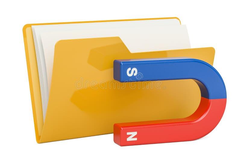 计算机与磁铁, 3D的文件夹象翻译 向量例证
