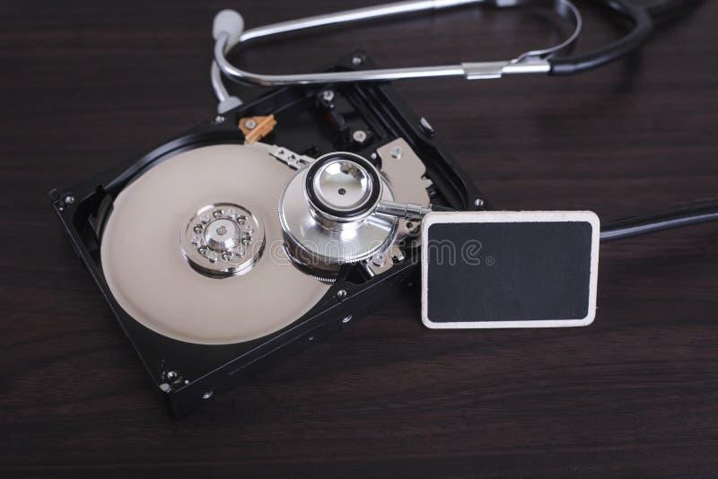 计算机与s的修理和数字资料补救的描述 免版税库存照片