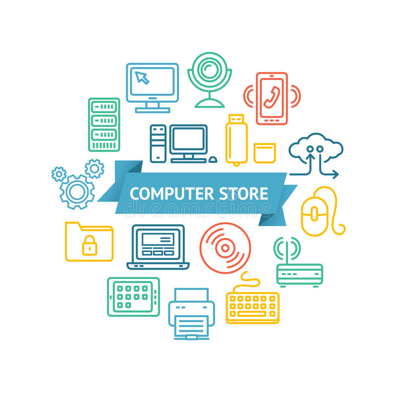 计算机专卖店概念 向量 向量例证