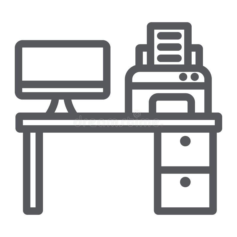 计算机书桌线象,办公室和桌,工作场所标志,向量图形,在白色背景的一个线性样式 库存例证