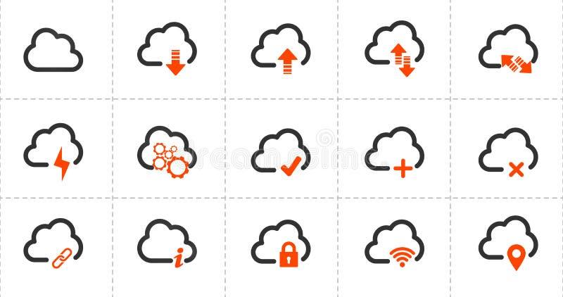 计算机云彩相关线象 纸板颜色图标图标设置了标签三向量 在空白背景查出的向量例证 向量例证