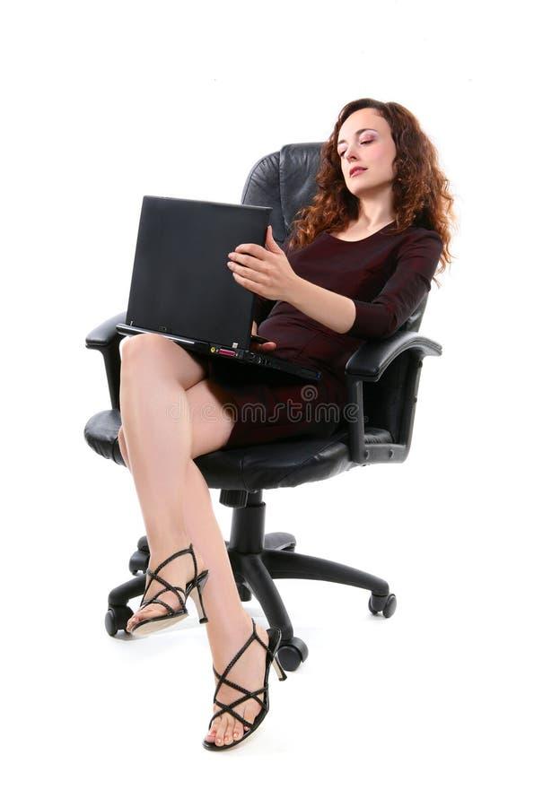 计算机俏丽的妇女 库存照片