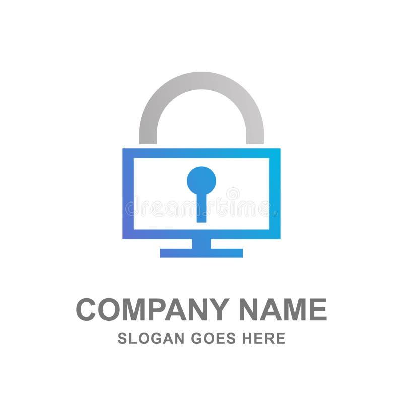 计算机保护安全商标设计传染媒介 免版税库存图片
