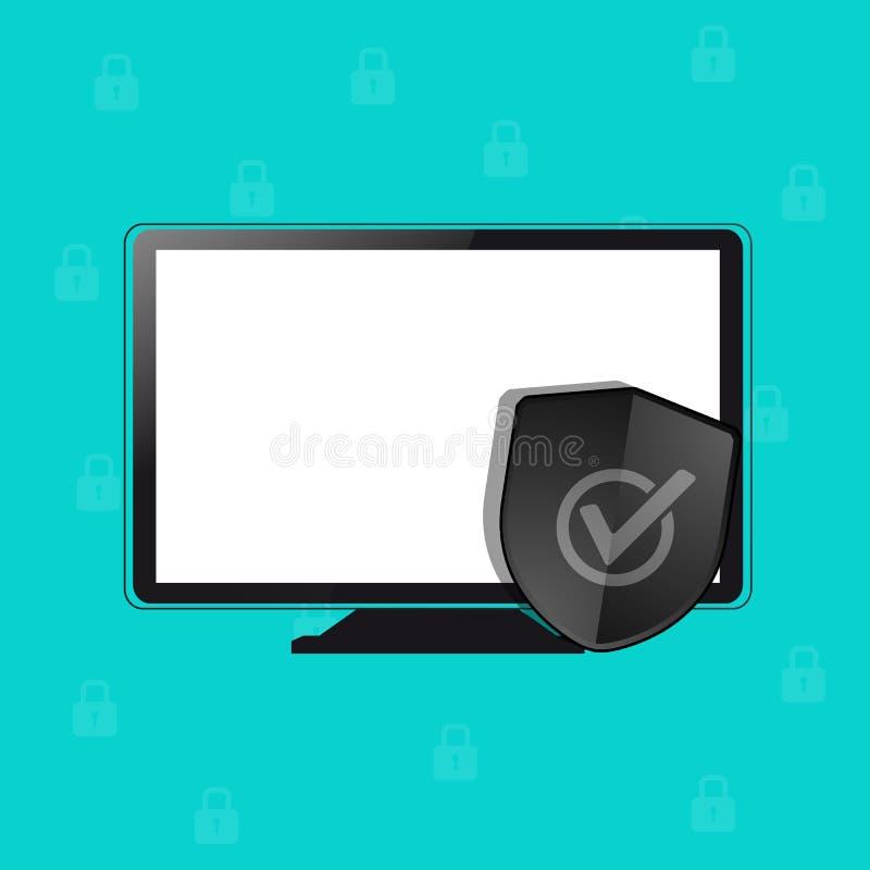 计算机保护安全盾,互联网防火墙抗病毒概念-传染媒介例证-隔绝在Monochome背景 库存例证