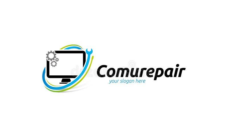 计算机修理商标模板 向量例证