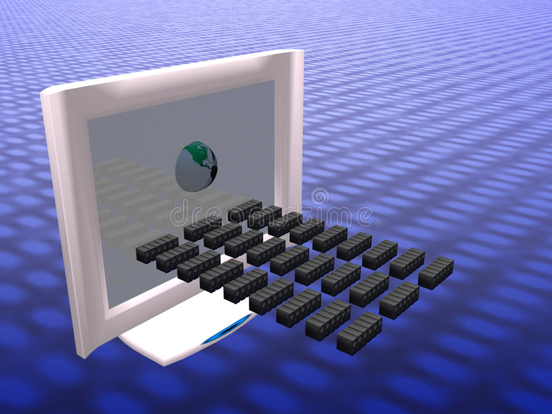计算机分布的虚拟病毒 向量例证