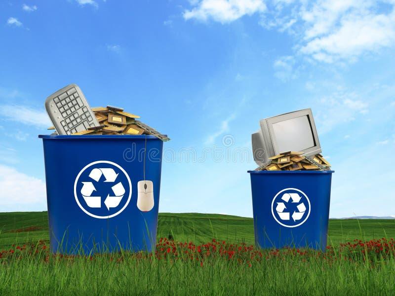 计算机分开垃圾 库存图片