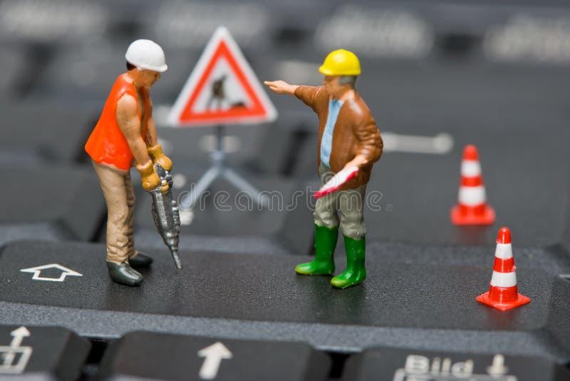 计算机判断关键董事会微型工作 免版税库存照片
