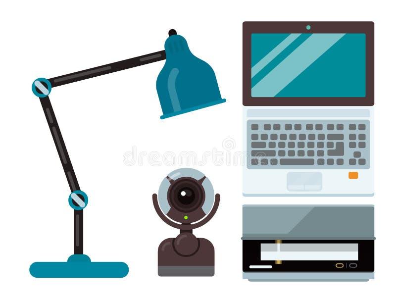 计算机办公设备技术小配件现代工作场所通信设备膝上型计算机监视打印机键盘照相机 库存例证