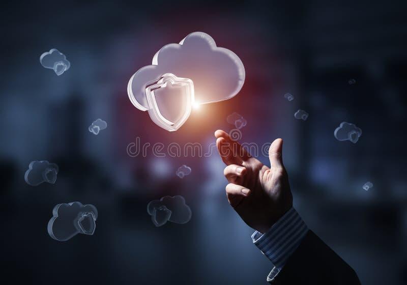 计算机和互联网象云彩提出的安全概念 混合画法 库存例证
