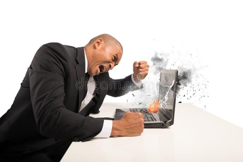 计算机和失望造成的重音 免版税图库摄影