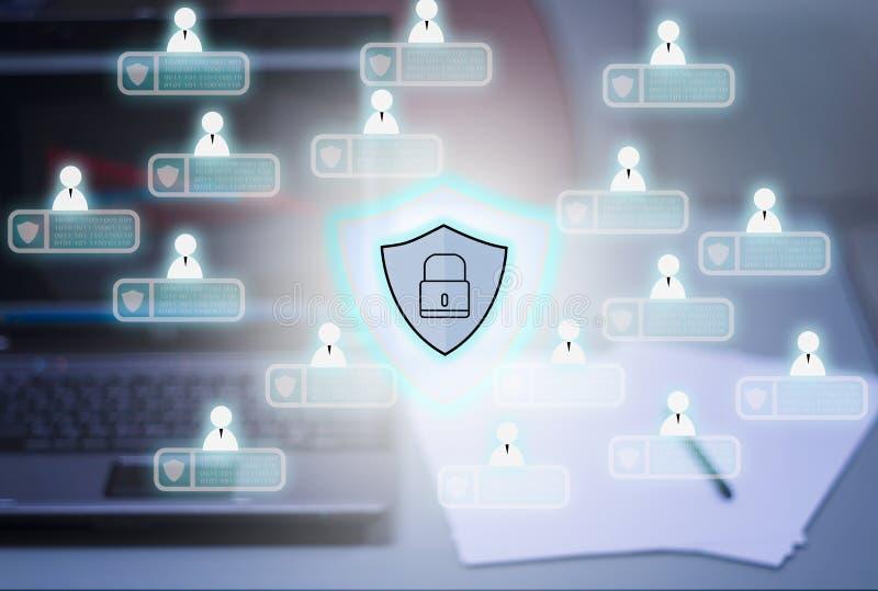 计算机和笔记本背景,与cybersecurity Pri象  皇族释放例证