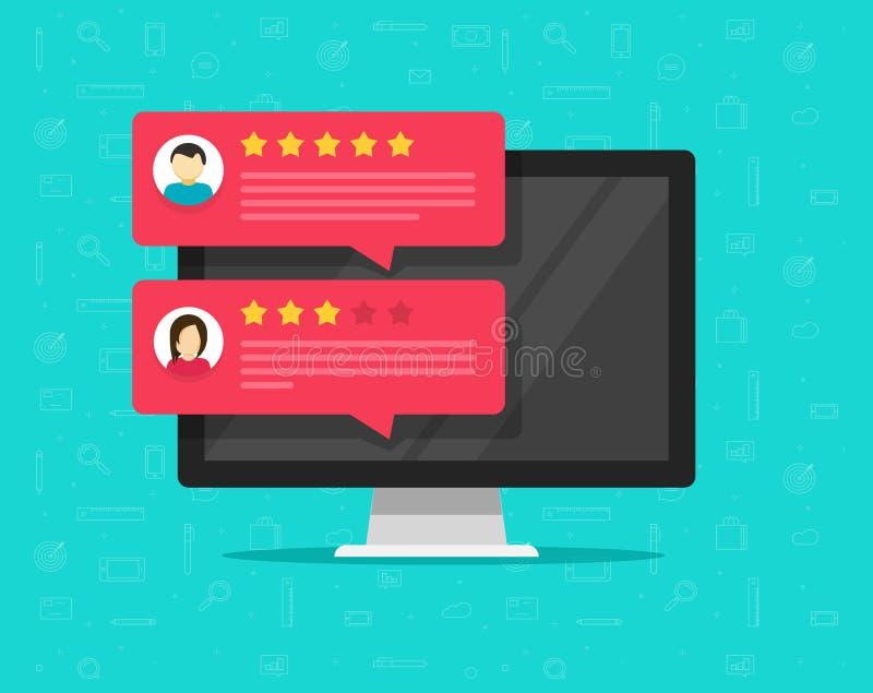 计算机和顾客回顾规定值消息传染媒介例证、平的台式计算机显示与网上回顾或客户 向量例证