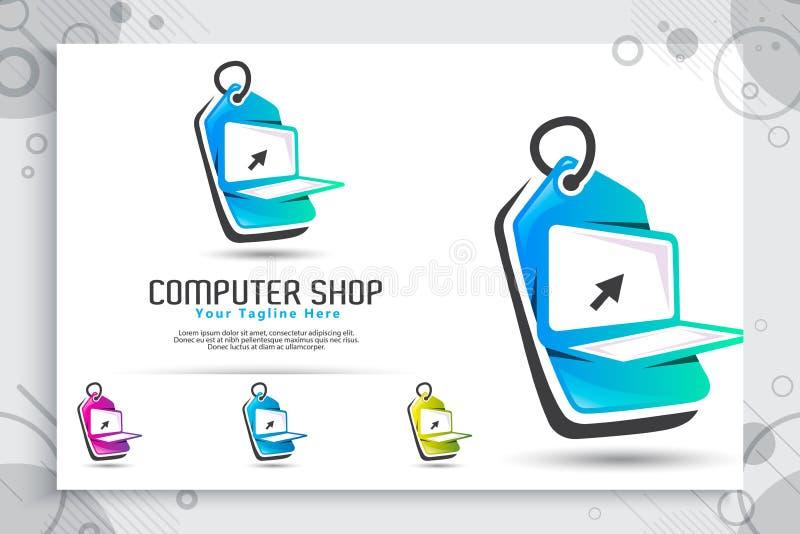 计算机商店与简单和现代膝上型计算机的构思设计、例证和价牌的传染媒介商标作为标志象数字 皇族释放例证