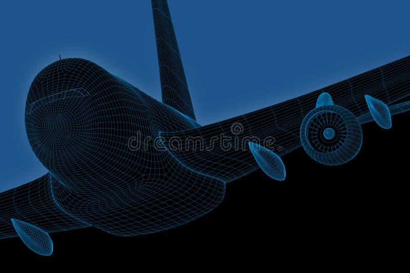 计算机喷气机乘客wireframe 向量例证