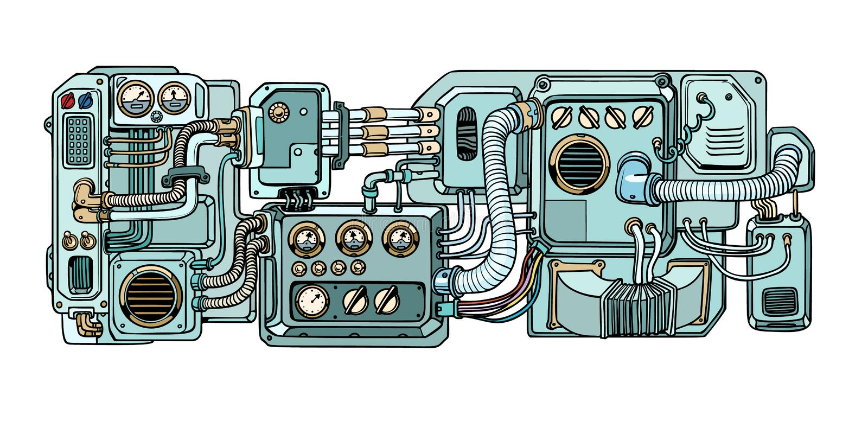 计算机国际庞克机器人机制和机器 spacecr的细节 库存例证