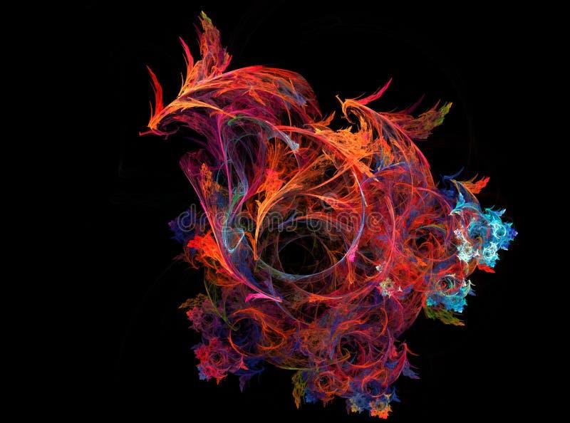 计算机图表火菲尼斯鸟龙 数字式艺术音乐烟 分数维图表五颜六色的背景 库存图片