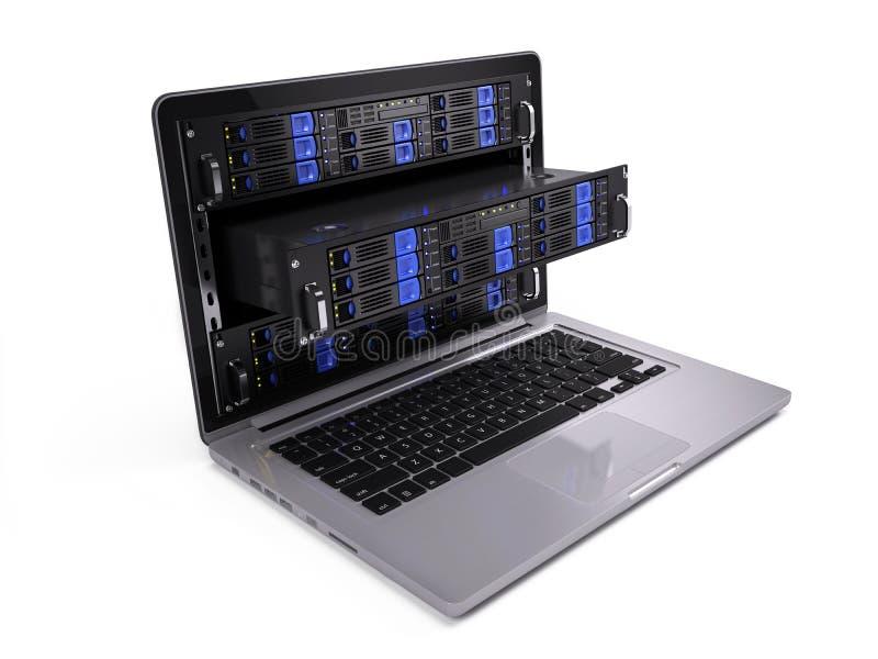 计算机在膝上型计算机屏幕的机架服务器 库存例证