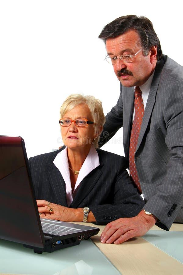 计算机夫妇前面前辈 免版税库存图片