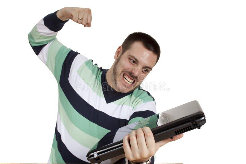 计算机失败膝上型计算机人 免版税库存照片