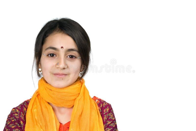 计算机女孩印地安人膝上型计算机 免版税库存照片