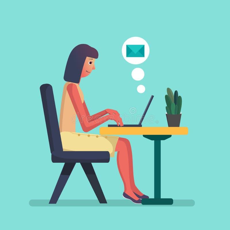 计算机女孩膝上型计算机运作的年轻&# 平的卡通人物传染媒介例证,自由职业者工作场所,工作书桌 皇族释放例证