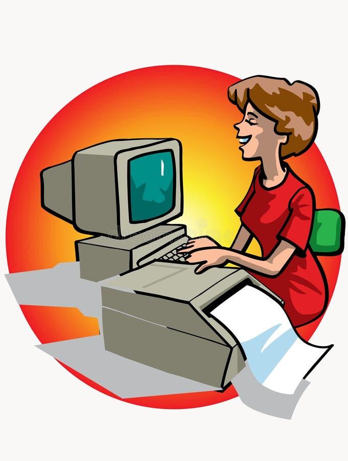 计算机妇女工作 库存例证