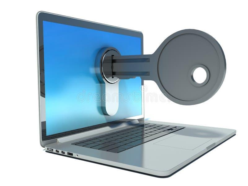 计算机安全概念-膝上型计算机和钥匙 向量例证
