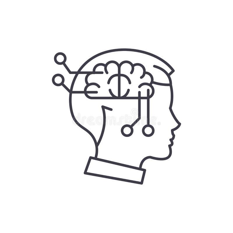 计算机想法的线象概念 计算机想法的传染媒介线性例证,标志,标志 库存例证