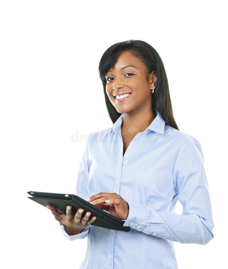 计算机愉快的片剂妇女 库存照片