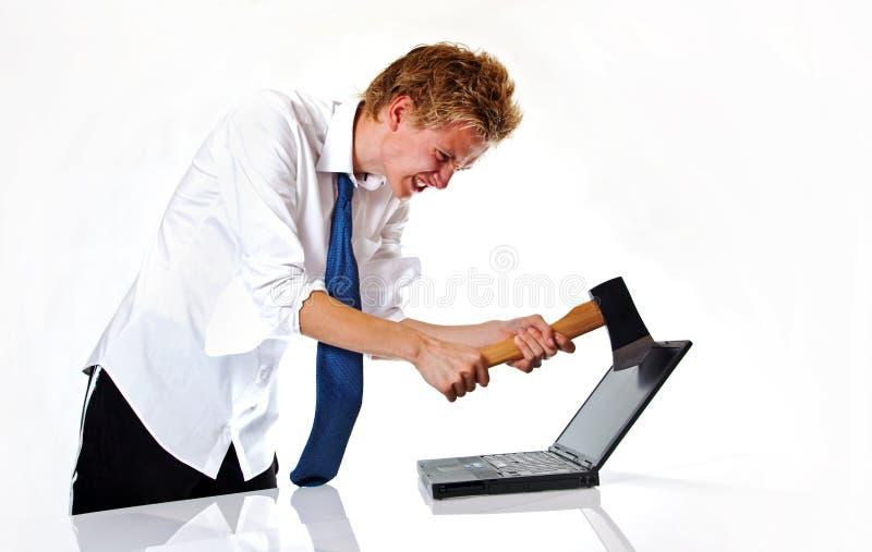 计算机愤怒 库存照片