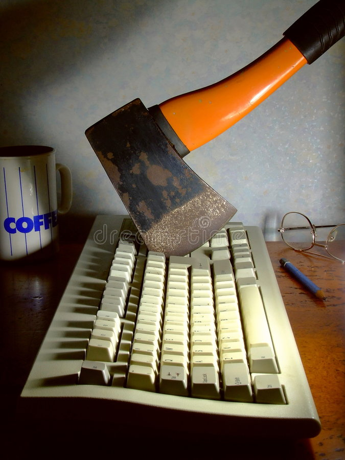 计算机愤怒 库存图片