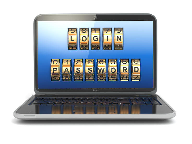 计算机或互联网安全概念 有注册和舞步的膝上型计算机 库存例证