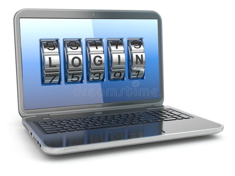计算机或互联网安全概念 有代码注册的膝上型计算机 库存例证