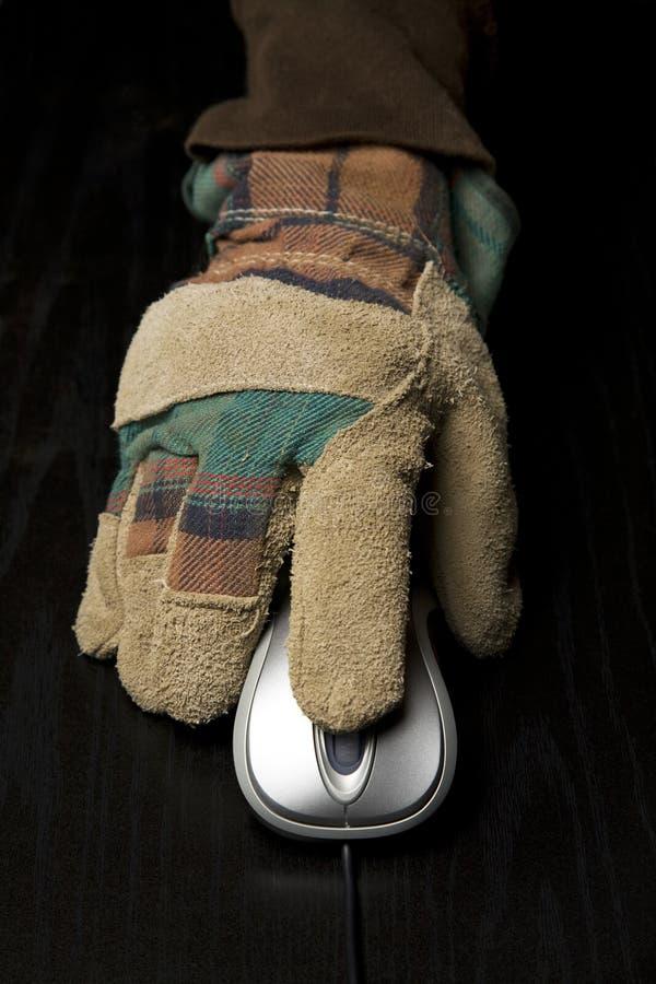 计算机手套使用工作的现有量鼠标 图库摄影