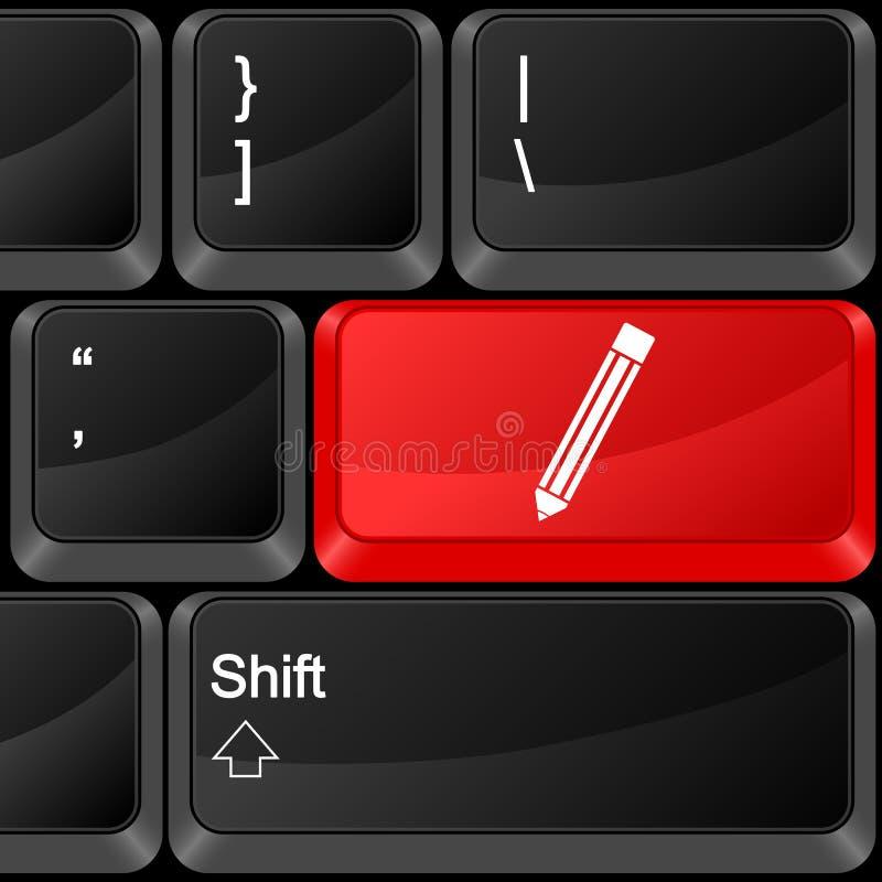 计算机按钮笔 皇族释放例证