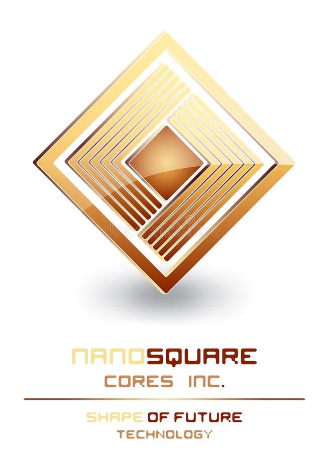 计算机挖出果核徽标纳诺符号技术 库存例证