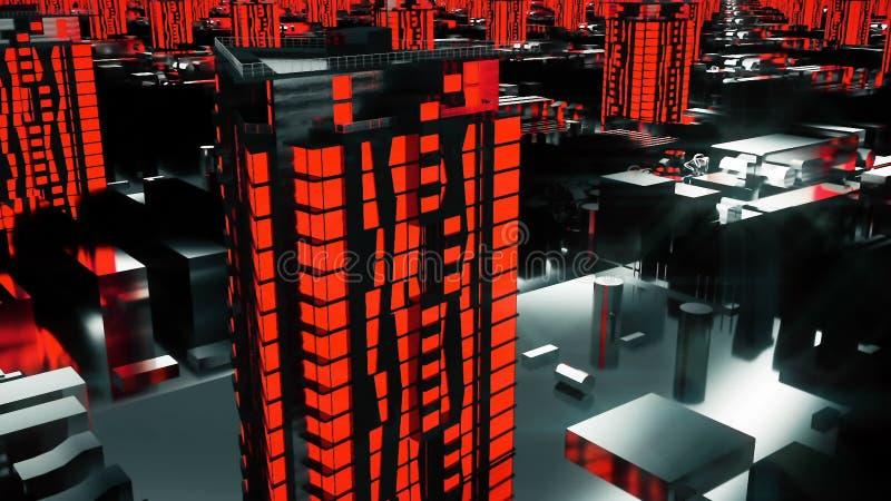 计算机控制学的未来派红色城市 3d大厦,技术样式的摩天大楼 库存图片