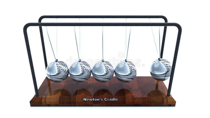 计算机摇篮被生成的图象牛顿 库存例证
