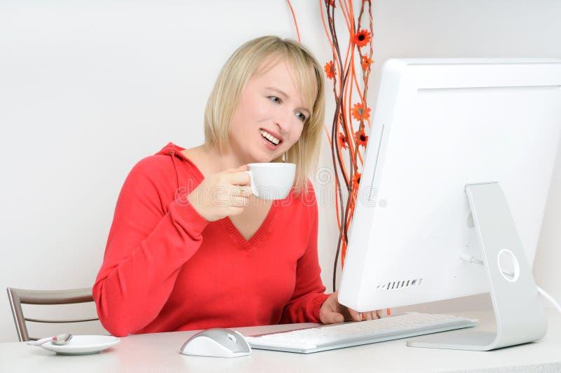 计算机放松 免版税库存照片