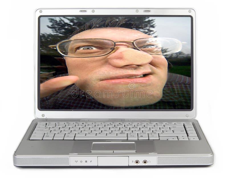 计算机放过我晚上 免版税库存照片