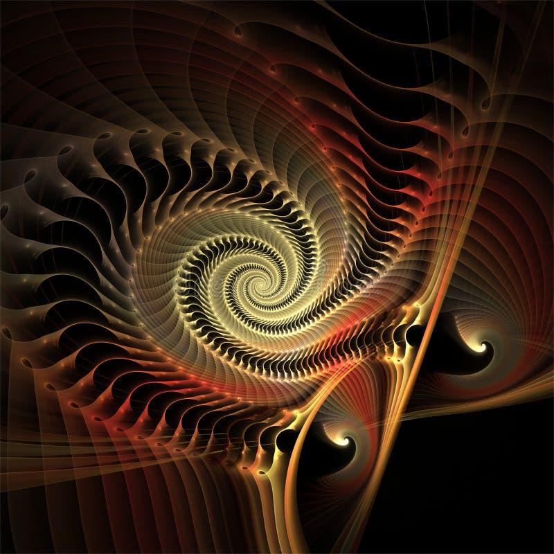 计算机数字分数维艺术摘要分数维深红塑料3D螺旋 皇族释放例证
