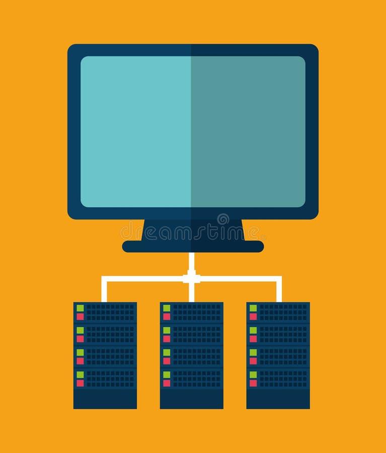 计算机数据中心网络主持 背景装饰图象风格化漩涡向量挥动 库存例证