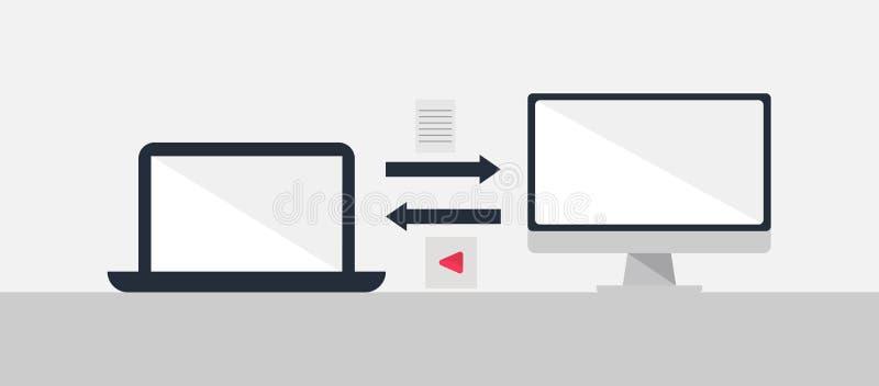 计算机数据分享传染媒介例证平的设计 皇族释放例证