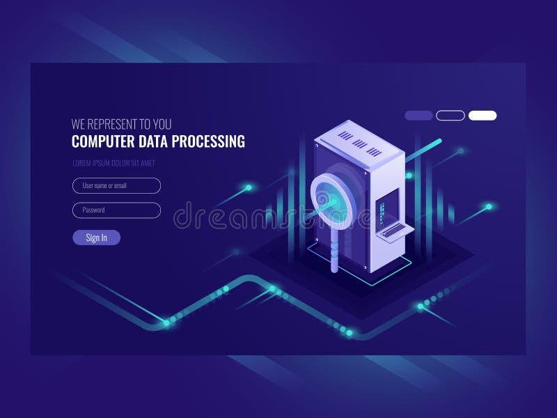 计算机数据处理,搜索引擎优化,服务器室, infromation技术,数据处理,网 皇族释放例证
