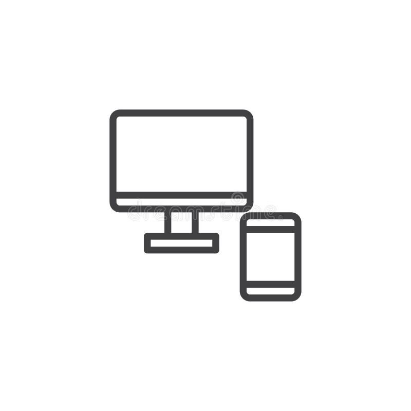 计算机显示器和手机线象 皇族释放例证