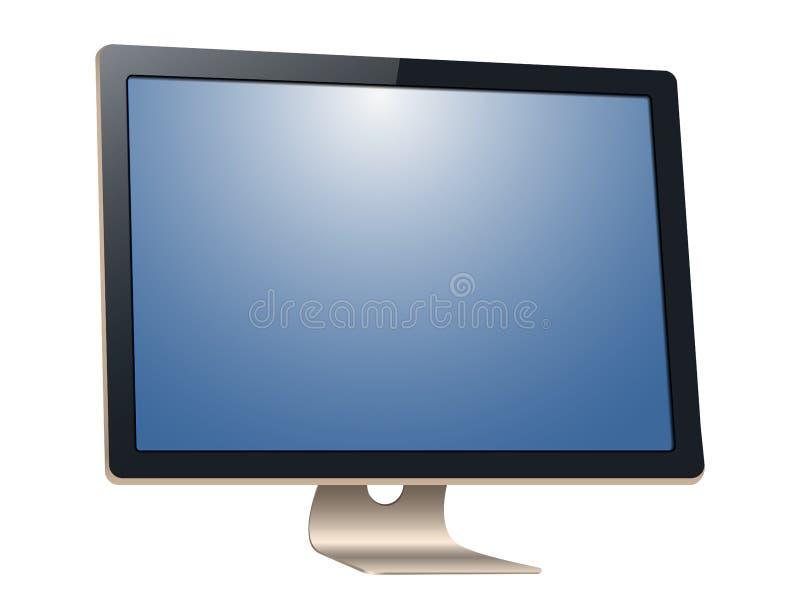 计算机显示器,当黑屏,被隔绝在白色背景 代表您的应用 皇族释放例证